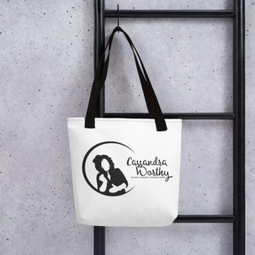 Cassandra Worthy logo fashionable tote bag.